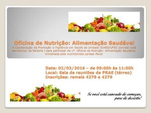 1ª Oficina de Nutrição - Alimentação Saudável - Cartaz